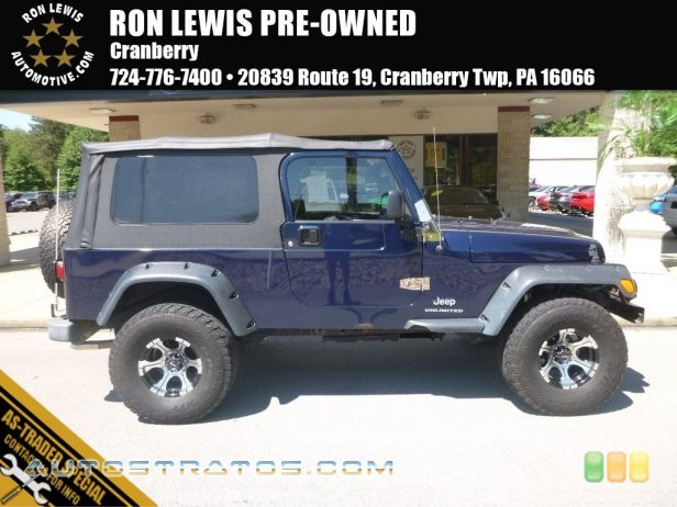 2004 Jeep Wrangler Unlimited 4x4 4.0 Liter OHV 12-Valve Inline 6 Cylinder 4 Speed Automatic
