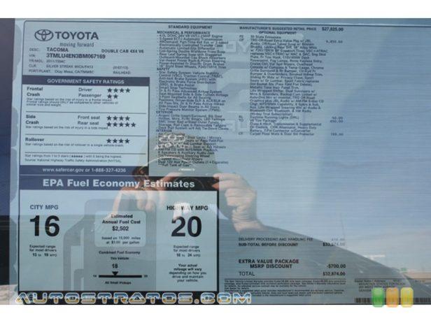 2011 Toyota Tacoma V6 TRD Double Cab 4x4 4.0 Liter DOHC 24-Valve VVT-i V6 5 Speed Automatic