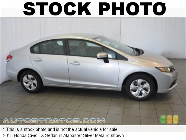Stock photo for this 2015 Honda Civic LX Sedan 1.8 Liter SOHC 16-Valve i-VTEC 4 Cylinder CVT Automatic