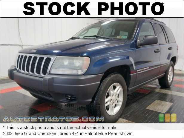 Stock photo for this 2003 Jeep Grand Cherokee Laredo 4x4 4.0 Liter OHV 12-Valve Inline 6 Cylinder 4 Speed Automatic