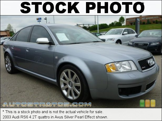 Stock photo for this 2003 Audi RS6 4.2T quattro 4.2 Liter Twin-Turbocharged DOHC 40-Valve V8 5 Speed Tiptronic Automatic