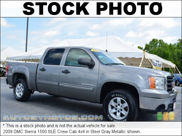 Stock photo for this 2009 GMC Sierra 1500 SLE Crew Cab 4x4 5.3 Liter OHV 16-Valve Vortec Flex-Fuel V8 6 Speed Automatic