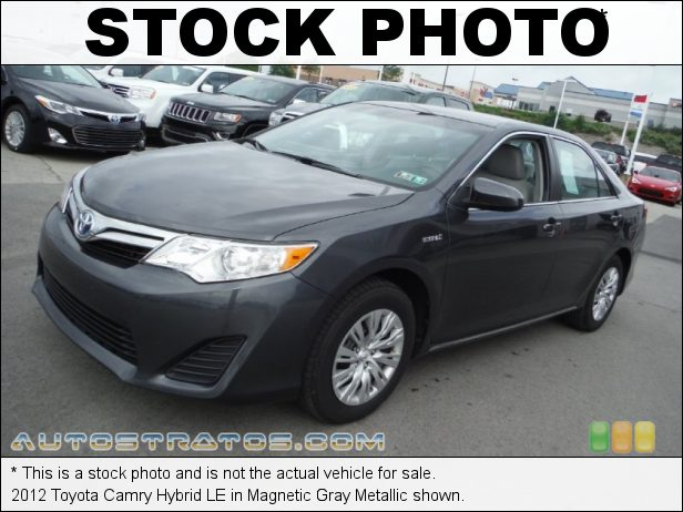 Stock photo for this 2012 Toyota Camry Hybrid 2.4 Liter H DOHC 16-Valve Dual VVT-i 4 Cylinder Gasoline/Electri ECVT Automatic