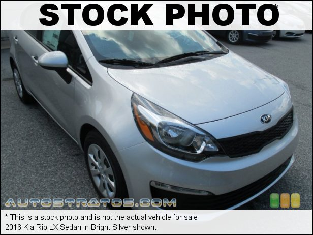 Stock photo for this 2016 Kia Rio LX Sedan 1.6 Liter GDI DOHC 16-Valve CVVT 4 Cylinder 6 Speed Automatic