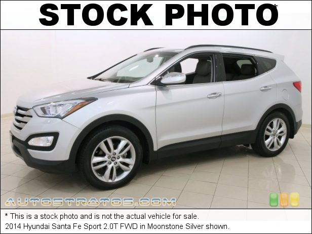 Stock photo for this 2014 Hyundai Santa Fe Sport 2.0T FWD 2.0 Liter GDI Turbocharged DOHC 16-Valve CVVT 4 Cylinder 6 Speed SHIFTRONIC Automatic