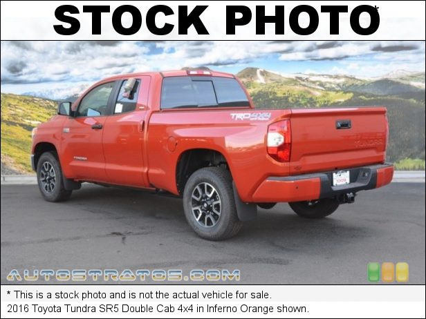 Stock photo for this 2016 Toyota Tundra Double Cab 4x4 5.7 Liter i-Force DOHC 32-Valve VVT-i V8 6 Speed ECT-i Automatic