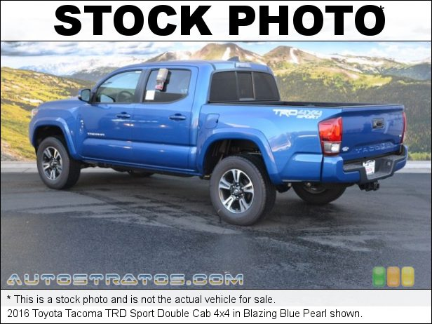 Stock photo for this 2016 Toyota Tacoma Double Cab 4x4 3.5 Liter DI Atkinson-Cycle DOHC 16-Valve VVT-i V6 6 Speed Automatic