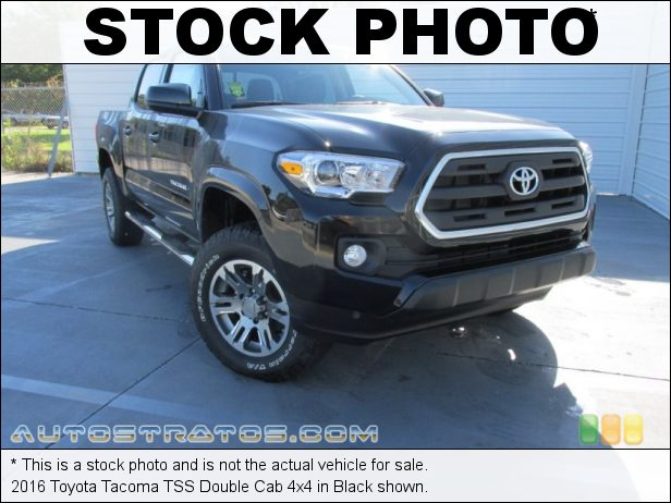 Stock photo for this 2016 Toyota Tacoma TRD Sport Double Cab 4x4 3.5 Liter DI Atkinson-Cycle DOHC 16-Valve VVT-i V6 6 Speed Automatic