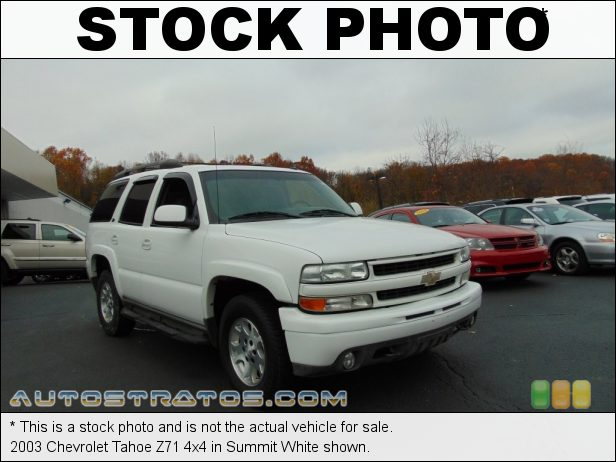 Stock photo for this 2003 Chevrolet Tahoe 4x4 5.3 Liter OHV 16-Valve Vortec V8 4 Speed Automatic