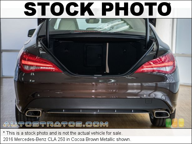 Stock photo for this 2016 Mercedes-Benz CLA 250 2.0 Liter DI Turbocharged DOHC 16-Valve VVT 4 Cylinder 7 Speed DCT Dual-Clutch Automatic