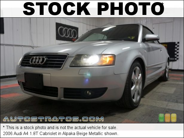 Stock photo for this 2006 Audi A4 1.8T Cabriolet 1.8 Liter Turbocharged DOHC 20-Valve VVT 4 Cylinder Multitronic CVT Automatic