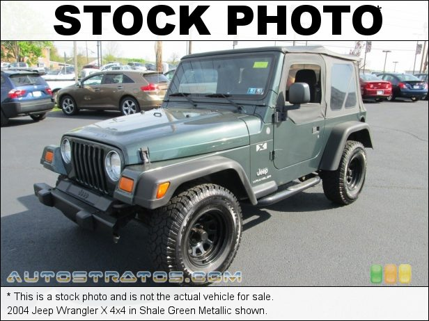 Stock photo for this 2004 Jeep Wrangler X 4x4 4.0 Liter OHV 12-Valve Inline 6 Cylinder 4 Speed Automatic