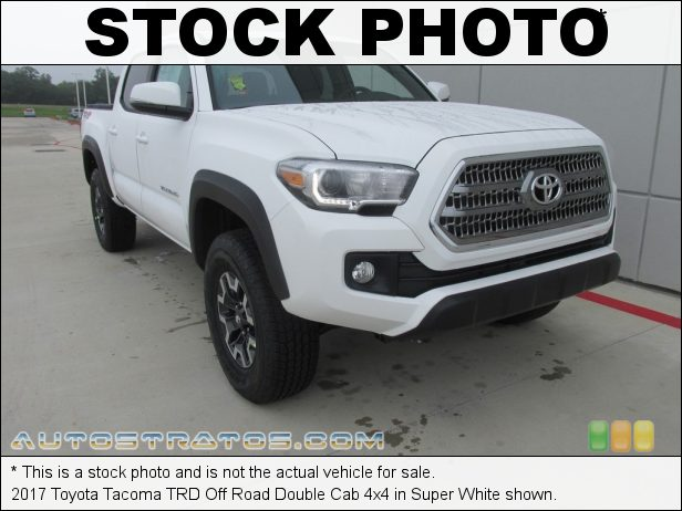 Stock photo for this 2017 Toyota Tacoma TRD Off Road Double Cab 4x4 3.5 Liter DOHC 24-Valve VVT-iW V6 6 Speed ECT-i Automatic