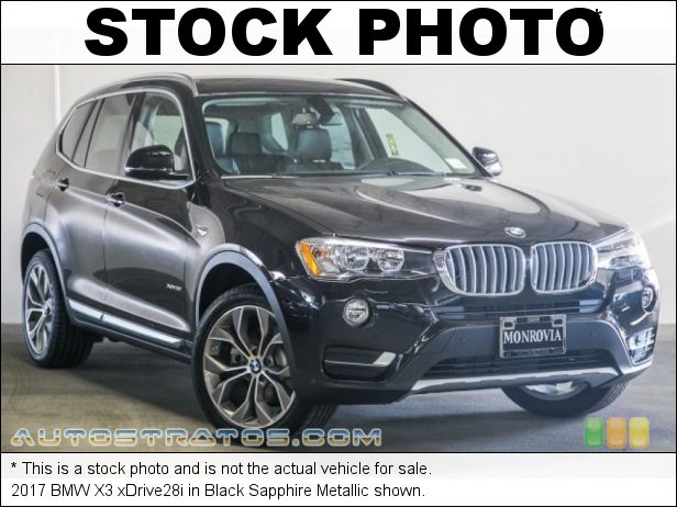 Stock photo for this 2017 BMW X3 xDrive28i 2.0 Liter TwinPower Turbocharged DI DOHC 16-Valve VVT 4 Cylinder 8 Speed STEPTRONIC Automatic