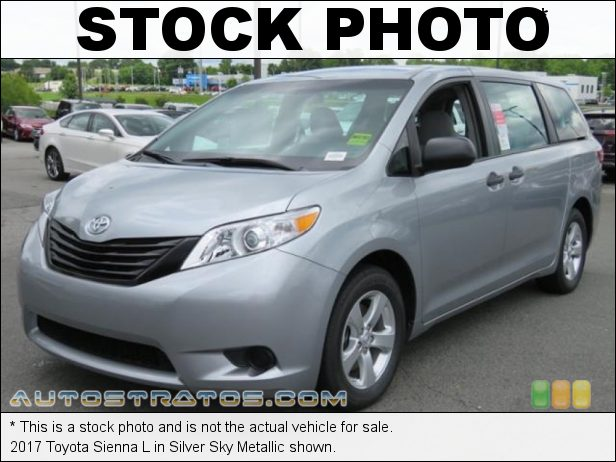 Stock photo for this 2017 Toyota Sienna L 3.5 Liter DOHC 24-Valve Dual VVT-i V6 8 Speed Automatic