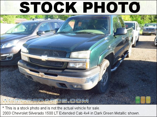 Stock photo for this 2003 Chevrolet Silverado 1500 Extended Cab 4x4 5.3 Liter OHV 16-Valve Vortec V8 4 Speed Automatic