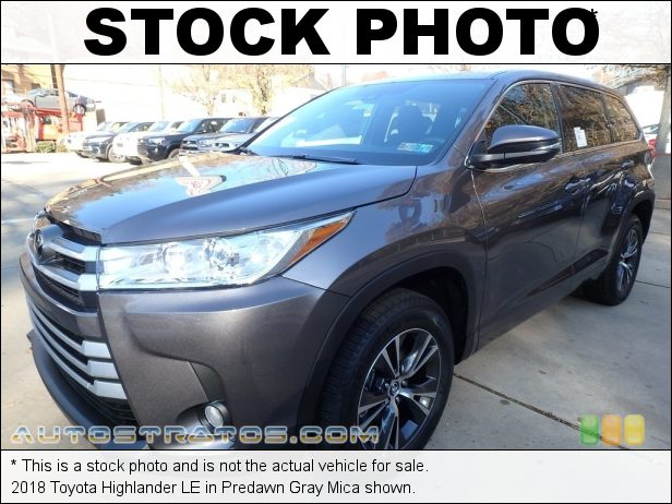 Stock photo for this 2018 Toyota Highlander LE 3.5 Liter DOHC 24-Valve VVT-i V6 8 Speed Automatic