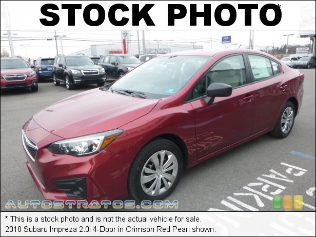 Stock photo for this 2018 Subaru Impreza 2.0i 4-Door 2.0 Liter DI DOHC 16-Valve DAVCS Horizontally Opposed 4 Cylinder Lineartronic CVT Automatic