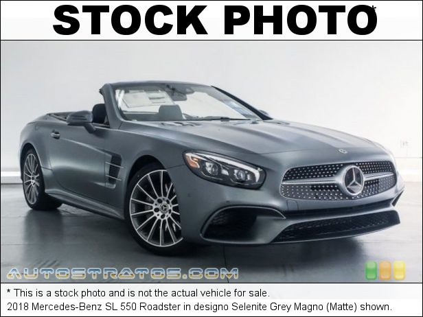 Stock photo for this 2018 Mercedes-Benz SL 550 Roadster 4.7 Liter DI biturbo DOHC 32-Valve VVT V8 9 Speed Automatic