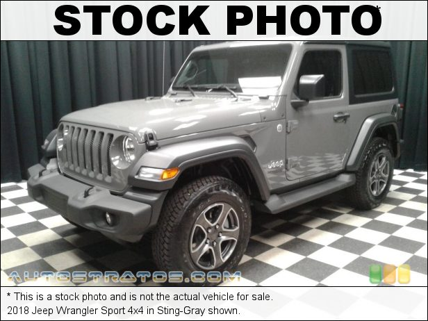 Stock photo for this 2018 Jeep Wrangler Sport 4x4 3.6 Liter DOHC 24-Valve VVT V6 8 Speed Automatic