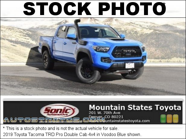Stock photo for this 2019 Toyota Tacoma TRD Cab 4x4 3.5 Liter DOHC 24-Valve VVT-i V6 6 Speed Automatic