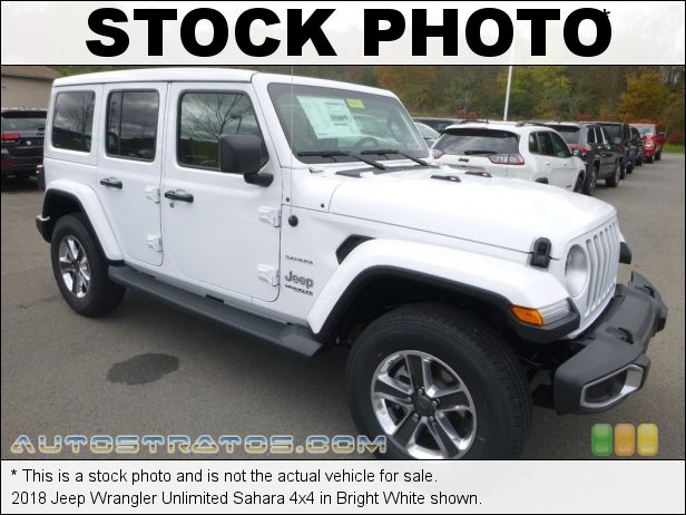 Stock photo for this 2018 Jeep Wrangler Unlimited Sahara 4x4 2.0 Liter Turbocharged DOHC 16-Valve VVT 4 Cylinder 8 Speed Automatic