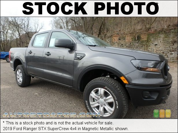 Stock photo for this 2019 Ford Ranger SuperCrew 4x4 2.3 Liter Turbocharged DI DOHC 16-Valve EcoBoost 4 Cylinder 10 Speed Automatic