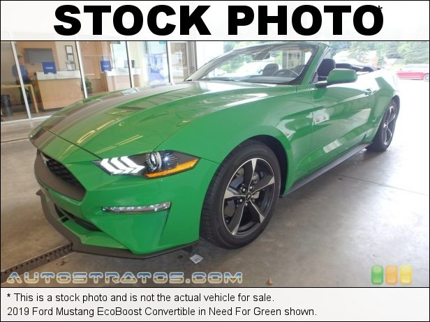 Stock photo for this 2019 Ford Mustang EcoBoost Convertible 2.3 Liter Turbocharged DOHC 16-Valve EcoBoost 4 Cylinder 10 Speed Automatic