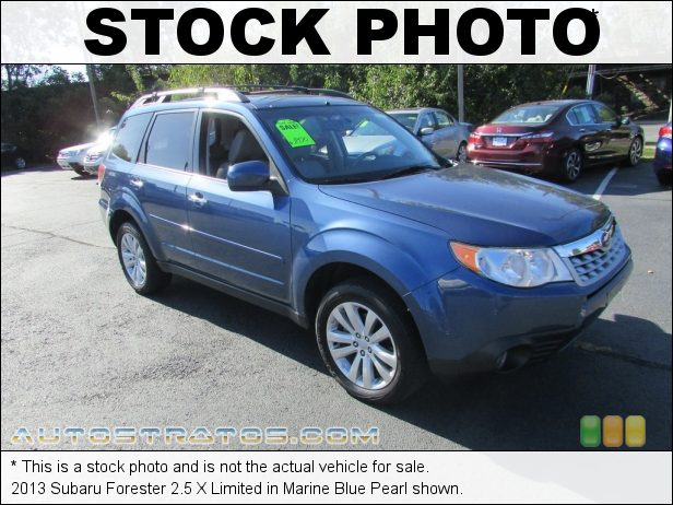Stock photo for this 2013 Subaru Forester 2.5 X Limited 2.5 Liter DOHC 16-Valve VVT 4 Cylinder 4 Speed Automatic