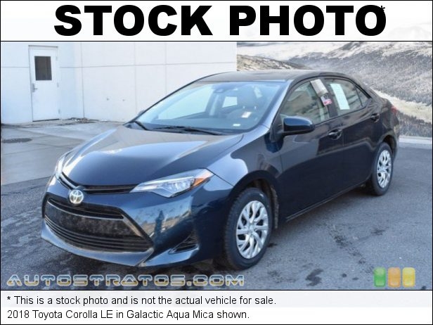 Stock photo for this 2018 Toyota Corolla LE 1.8 Liter DOHC 16-Valve VVT-i 4 Cylinder CVTi-S Automatic