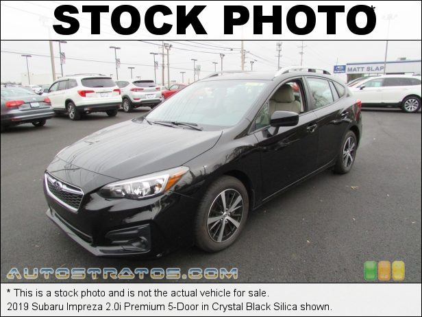 Stock photo for this 2019 Subaru Impreza 2.0i Premium 5-Door 2.0 Liter DI DOHC 16-Valve VVT Flat 4 Cylinder Lineartronic CVT Automatic