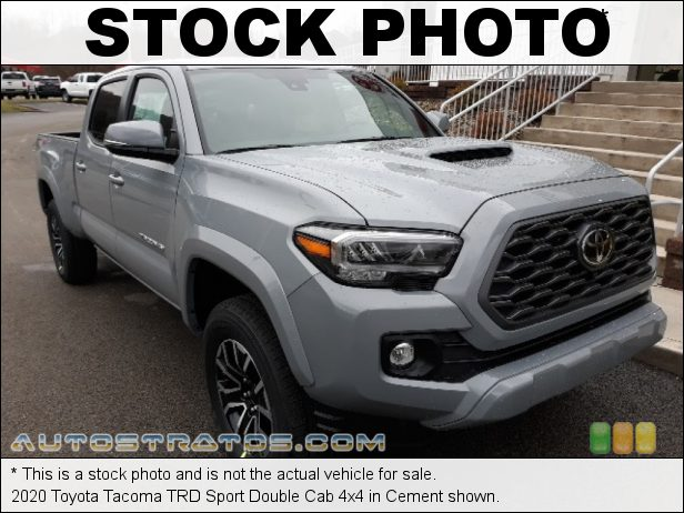 Stock photo for this 2021 Toyota Tacoma TRD Sport Double Cab 4x4 3.5 Liter DOHC 24-Valve Dual VVT-i V6 6 Speed Automatic
