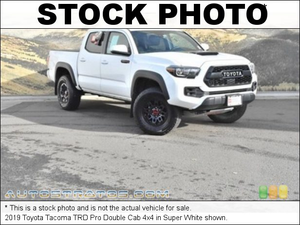 Stock photo for this 2019 Toyota Tacoma TRD Pro Double Cab 4x4 3.5 Liter DOHC 24-Valve VVT-i V6 6 Speed Automatic