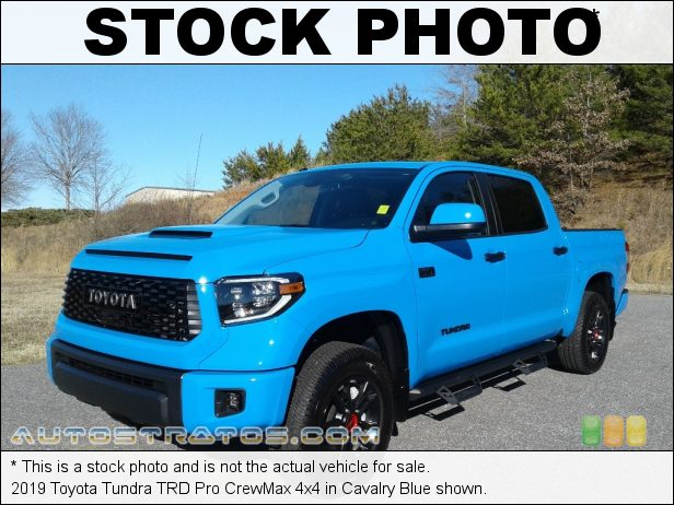 Stock photo for this 2019 Toyota Tundra SR5 CrewMax 4x4 5.7 Liter i-FORCE DOHC 32-Valve VVT-i V8 6 Speed ECT-i Automatic