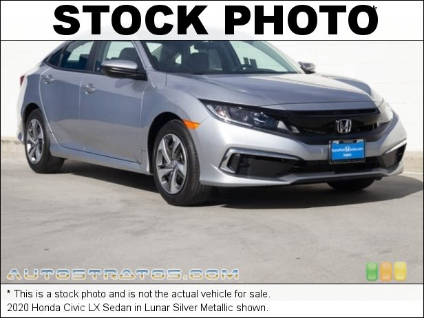 Stock photo for this 2020 Honda Civic LX Sedan 2.0 Liter DOHC 16-Valve i-VTEC 4 Cylinder CVT Automatic