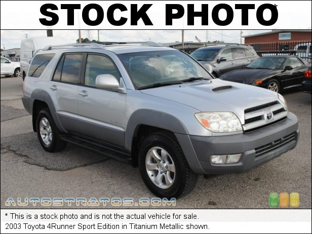 Stock photo for this 2003 Toyota 4Runner Sport Edition 4.0 Liter DOHC 24-Valve V6 4 Speed Automatic