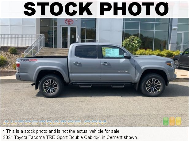 Stock photo for this 2021 Toyota Tacoma TRD Double Cab 4x4 3.5 Liter DOHC 24-Valve Dual VVT-i V6 6 Speed Automatic