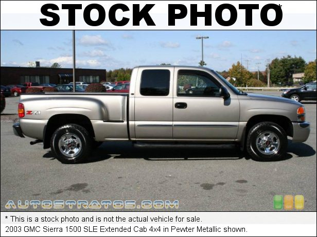 Stock photo for this 2003 GMC Sierra 1500 SLE Extended Cab 4x4 5.3 Liter OHV 16-Valve Vortec V8 4 Speed Automatic