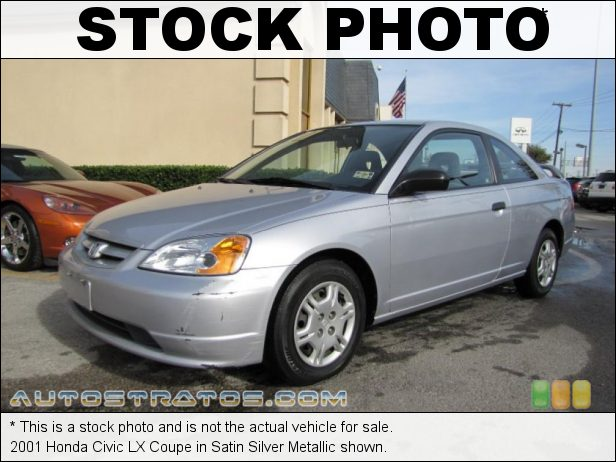 Stock photo for this 2001 Honda Civic LX Coupe 1.7L SOHC 16V 4 Cylinder 4 Speed Automatic