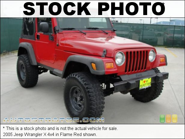 Stock photo for this 2005 Jeep Wrangler X 4x4 4.0 Liter OHV 12-Valve Inline 6 Cylinder 4 Speed Automatic