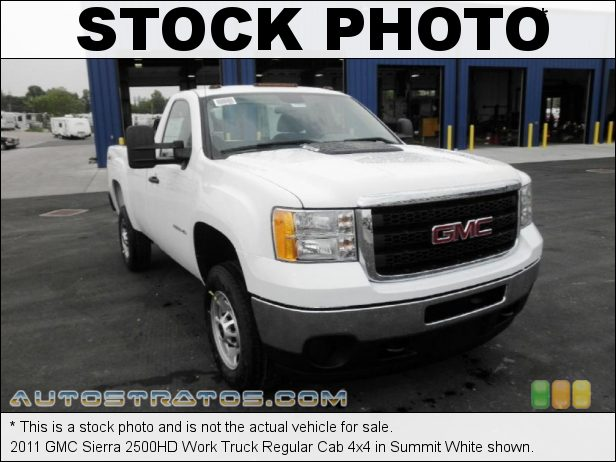 Stock photo for this 2011 GMC Sierra 2500HD Work Truck Regular Cab 4x4 6.0 Liter OHV 16-Valve VVT Vortec V8 6 Speed Automatic