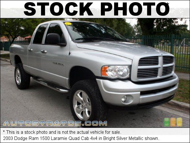 Stock photo for this 2003 Dodge Ram 1500 Quad Cab 4x4 5.9 Liter OHV 16-Valve V8 4 Speed Automatic