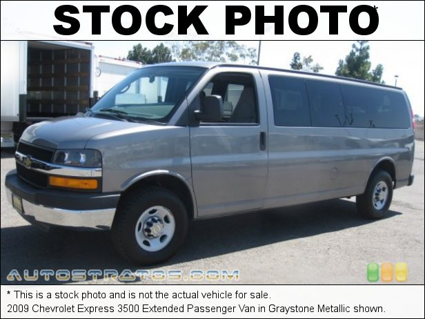Stock photo for this 2009 Chevrolet Express 3500 Extended Passenger Van 6.0 Liter OHV 16-Valve Vortec V8 4 Speed Automatic
