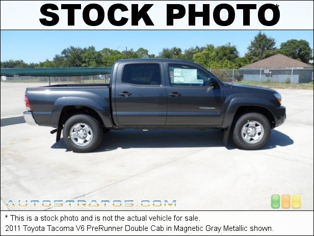 Stock photo for this 2011 Toyota Tacoma V6 PreRunner Double Cab 4.0 Liter DOHC 24-Valve VVT-i V6 5 Speed Automatic