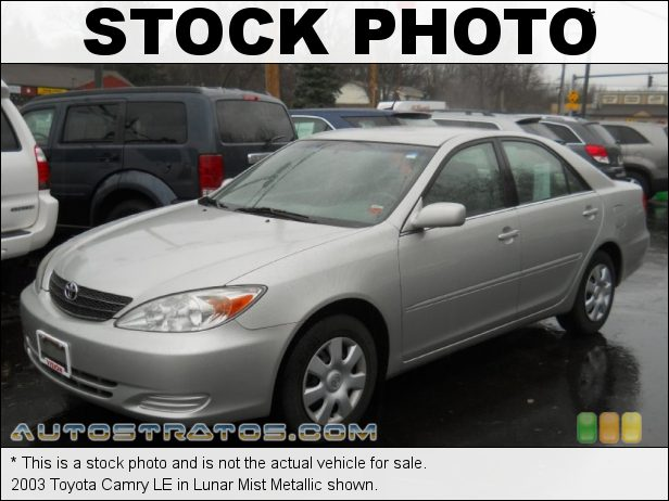 Stock photo for this 2003 Toyota Camry LE 2.4 Liter DOHC 16-Valve VVT-i 4 Cylinder 4 Speed Automatic