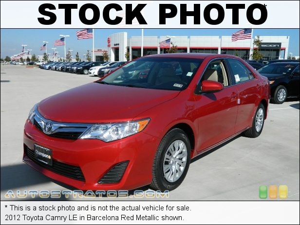 Stock photo for this 2012 Toyota Camry LE 2.5 Liter DOHC 16-Valve Dual VVT-i 4 Cylinder 6 Speed ECT-i Automatic