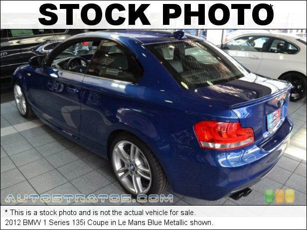 Stock photo for this 2012 BMW 1 Series 135i Coupe 3.0 Liter DI TwinPower Turbocharged DOHC 24-Valve VVT Inline 6 C 7 Speed Double-Clutch Automatic