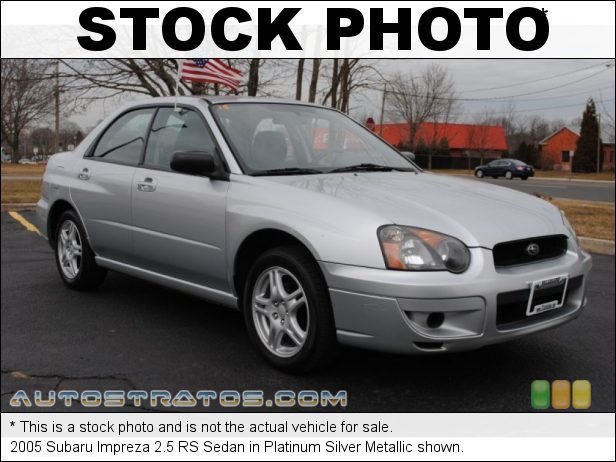 Stock photo for this 2005 Subaru Impreza 2.5 RS Sedan 2.5 Liter SOHC 16-Valve Flat 4 Cylinder 5 Speed Manual