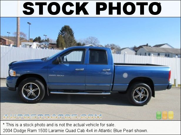 Stock photo for this 2004 Dodge Ram 1500 Laramie Quad Cab 4x4 5.7 Liter HEMI OHV 16-Valve V8 5 Speed Automatic