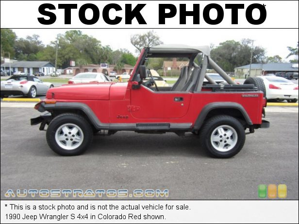 Stock photo for this 1990 Jeep Wrangler S 4x4 4.2 Liter OHV 12-Valve Inline 6 Cylinder 5 Speed Manual